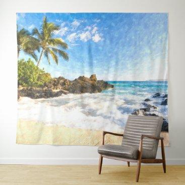 Hawaiian Themed Beautiful Summer Hawaiian Beach Watercolor Art Tapestry