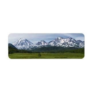 Beautiful summer volcanic landscape of Kamchatka Label