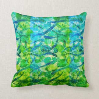 Beautiful Summery Green Blue Pillow