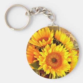 Beautiful Sunflower Bouquet Gifts Keychain