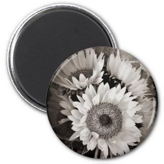 Beautiful Sunflower Bouquet Photo in Black & White 2 Inch Round Magnet