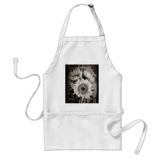 Beautiful Sunflower Bouquet Photo in Black & White Adult Apron