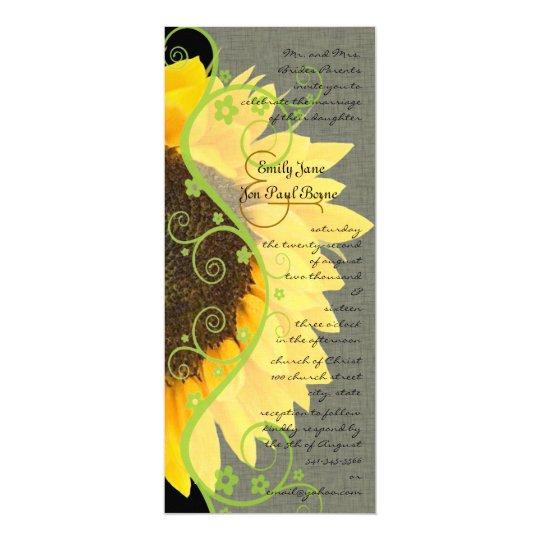 Beautiful Sunflower on Black Wedding Invitation