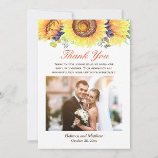 Beautiful Sunflower Rustic Wedding Photo Thank You