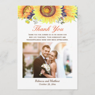Beautiful Sunflower Rustic Wedding Photo Thank You