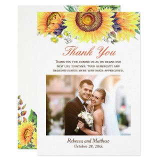 Beautiful Sunflower Rustic Wedding Photo Thank You Card