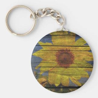 beautiful sunflower set on barn board basic round button keychain