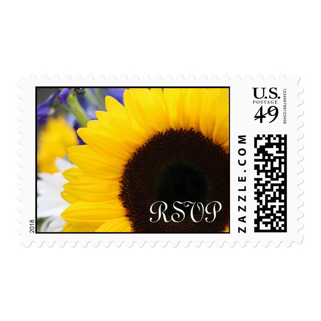 Beautiful Sunflower Wedding RSVP Postage