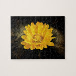 Beautiful Sunflower with Dark Brown Background Jigsaw Puzzle