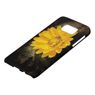 Beautiful Sunflower with Dark Brown Background Samsung Galaxy S7 Case