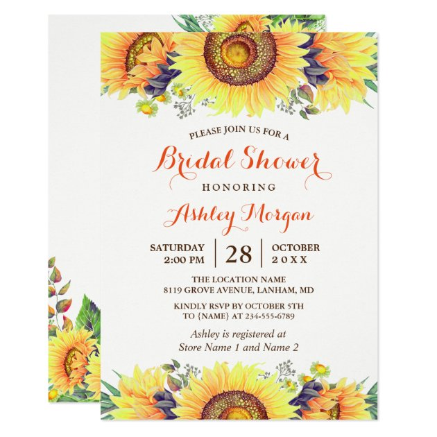Beautiful Sunflowers Rustic Chic Bridal Shower Card