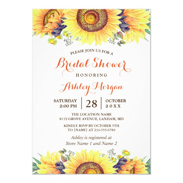 Beautiful Sunflowers Rustic Chic Bridal Shower Card (back side)