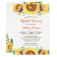 Beautiful Sunflowers Rustic Chic Bridal Shower Invitation