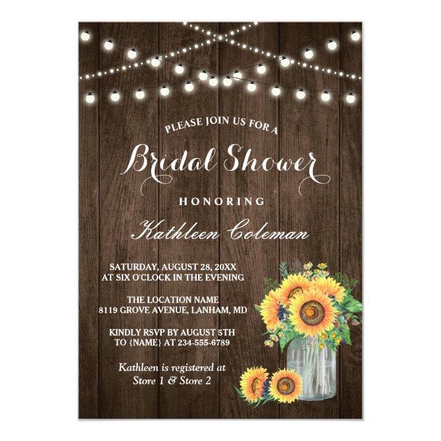 Beautiful Sunflowers Rustic Wood Bridal Shower Card