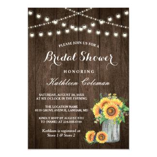 Beautiful Sunflowers Rustic Wood Bridal Shower Invitation