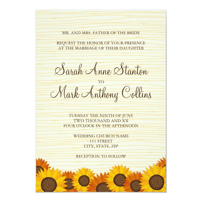 Beautiful sunflowers wedding invitation