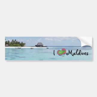Beautiful Sunny Maldives Beach Boats Bumper Sticker