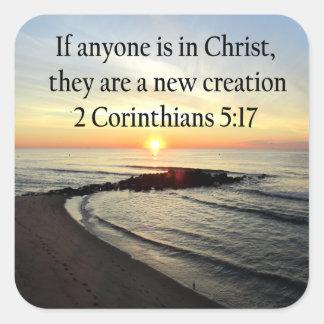 BEAUTIFUL SUNRISE 2 CORINTHIANS 5:17 DESIGN SQUARE STICKER