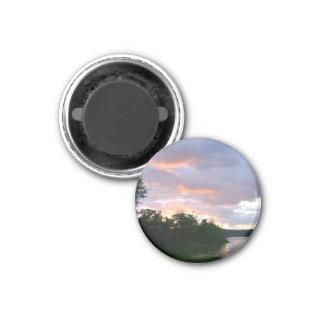 Beautiful Sunrise Along The Ohio River 1 Inch Round Magnet