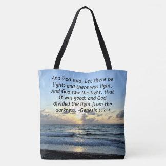 BEAUTIFUL SUNRISE GENESIS 1:3 SCRIPTURE PHOTO TOTE BAG