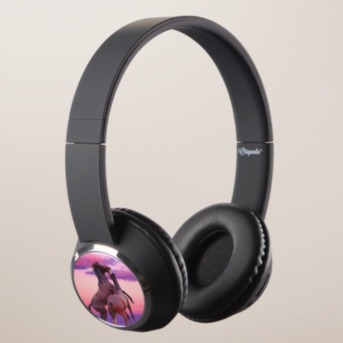 Beautiful Sunrise Horses Headphones