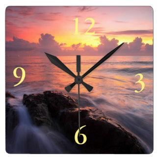 beautiful sunrise ocean square wall clock