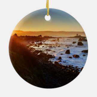 Beautiful Sunrise Over the Cliffs of Crescent City Ceramic Ornament