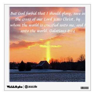 Beautiful sunrise with cross and Galatisn 6:14 Wall Sticker