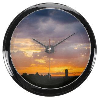 Beautiful sunset aquarium clock