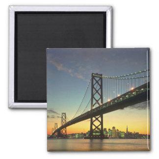 Beautiful Sunset: Bay Bridge, San Francisco, Calif 2 Inch Square Magnet