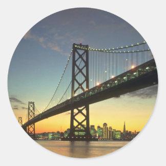 Beautiful Sunset: Bay Bridge, San Francisco, Calif Classic Round Sticker