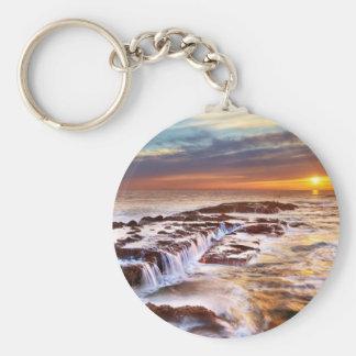 Beautiful Sunset Beach Ocean Waves Keychain