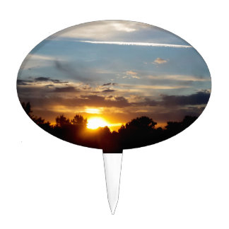 beautiful sunset blue yellow landscape relax cake topper