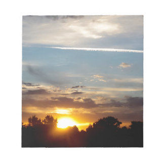 beautiful sunset blue yellow landscape relax notepad
