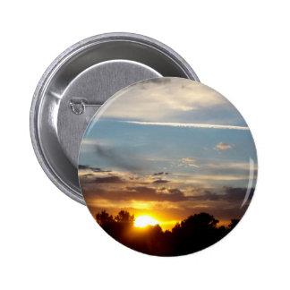 beautiful sunset blue yellow landscape relax pinback button