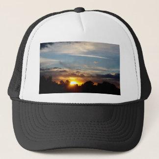 beautiful sunset blue yellow landscape relax trucker hat