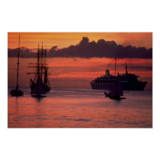Beautiful Sunset: Bridgetown Harbor, Barbados Poster
