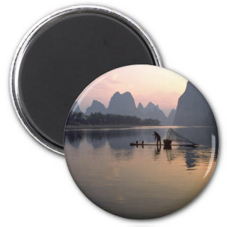 Beautiful Sunset: Crossing the River Li, Guilin, C 2 Inch Round Magnet