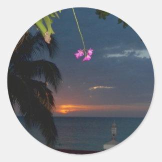 Beautiful Sunset Doctor's Cave Beach, Jamaica Classic Round Sticker