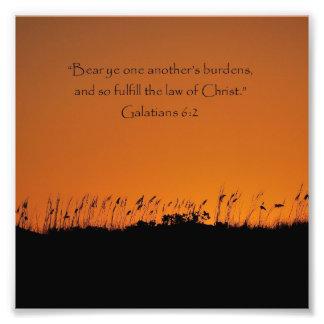 Beautiful Sunset Galations 6:2 Bible Verse Print Art Photo