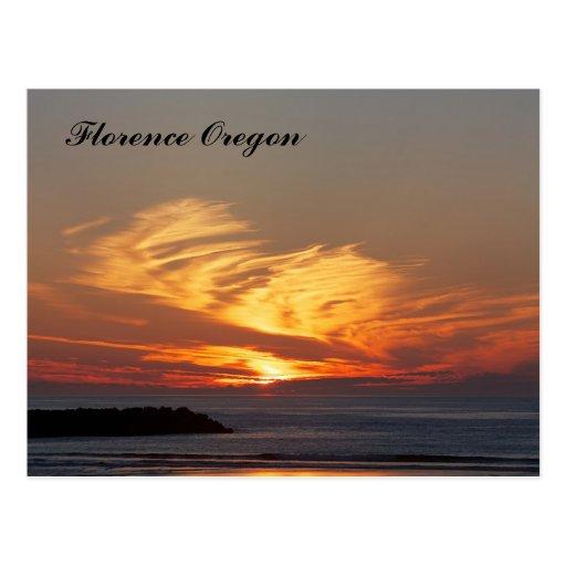 Beautiful Sunset in Florence Oregon Postcard