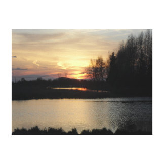 Beautiful Sunset Landscape-Birds View Picture Canvas Print