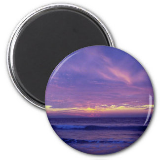 Beautiful Sunset: Mission Beach, San Diego, Califo 2 Inch Round Magnet