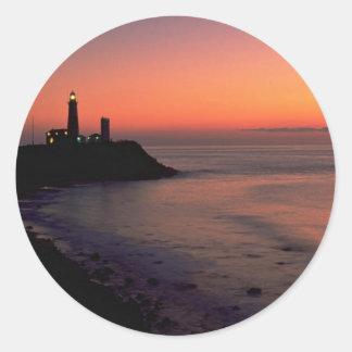 Beautiful Sunset: Montauk Point Light House, Long Classic Round Sticker