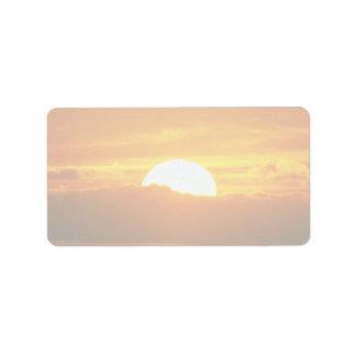 Beautiful Sunset: Moorea, outer reef pass, Tahiti Label