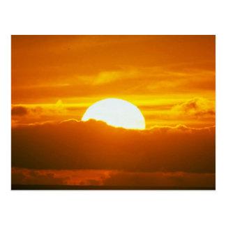 Beautiful Sunset: Moorea, outer reef pass, Tahiti Post Card