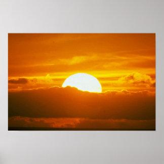 Beautiful Sunset: Moorea, outer reef pass, Tahiti Poster