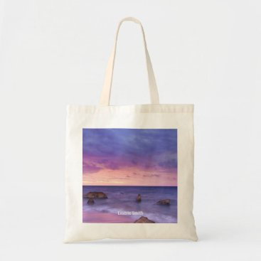 Beach Themed Beautiful Sunset Ocean View Personalized Tote Bag