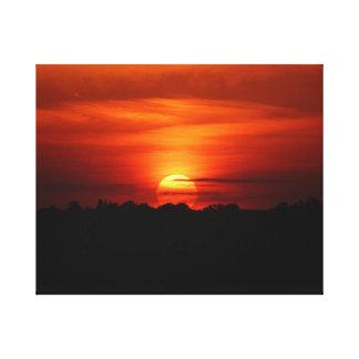 Beautiful sunset on canvas