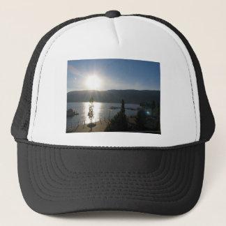 Beautiful sunset on the lake trucker hat